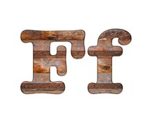 Letter F Wooden And Rusty Metal.