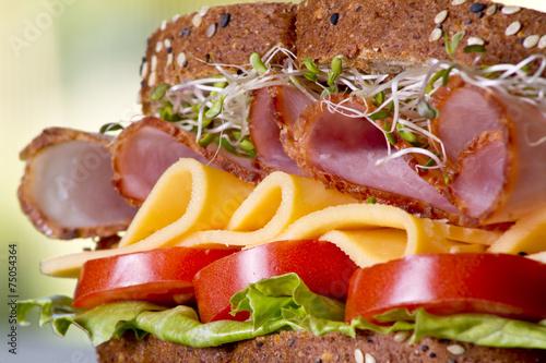 Fotografie, Obraz  Deli meat sandwich with turkey