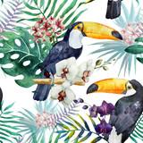 тукан,орхидея,паттерн,акварель - 75057977