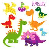 Fototapeta Dinusie - vector icons of baby dinosaurs