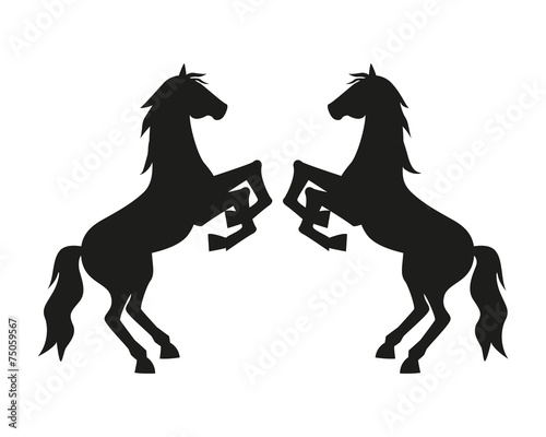 Tablou Canvas Silhouette Two Rearing Horses