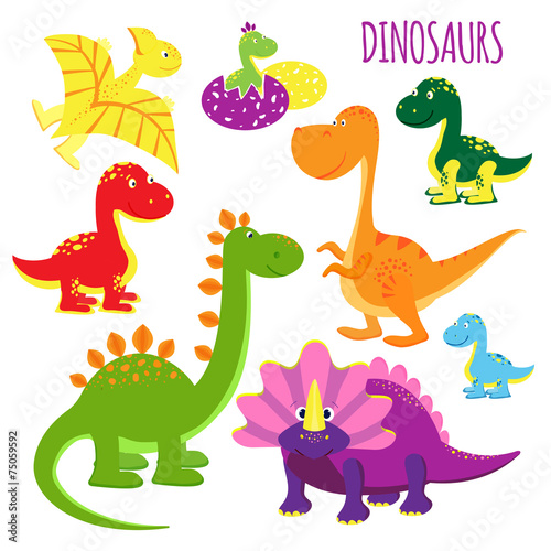 Photo  vector icons of baby dinosaurs