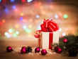 Christmas gift box with Christmas decorations
