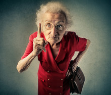Angry Grandma Pointing Out Something