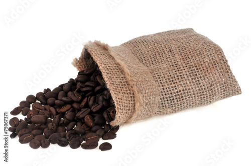 Acrylic Prints Coffee bar Sac de café en grain renversé