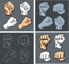 Fists - Vector Set. Stock Illu...