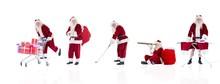 Composite Image Of Different Santas