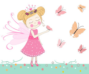 Plakat Cute fairytale with butterflies vector