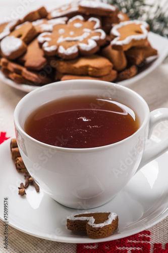 Foto op Plexiglas Chocolade Homemade cakes in the shape Christmas cookies with a cup of blac