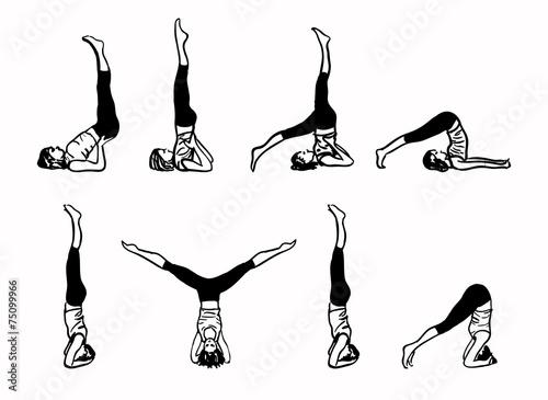 Obraz na plátně Komplex Inverted jógových pozic - skica vektorové ilustrace