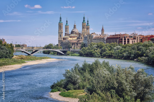 Aerial view of Zaragoza with Cathedral and River