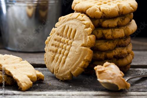Tuinposter Koekjes shortbread cookie with peanut butter