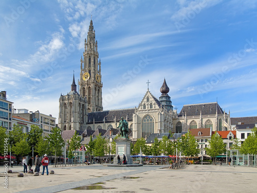 Poster Antwerpen Cathedral and statue of Peter Paul Rubens in Antwerp