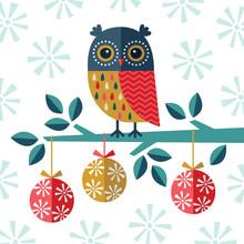 Merry Christmas Card Owl Baubl...