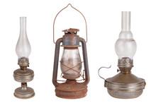Three Antique Kerosene Lamps Isolated On White Background
