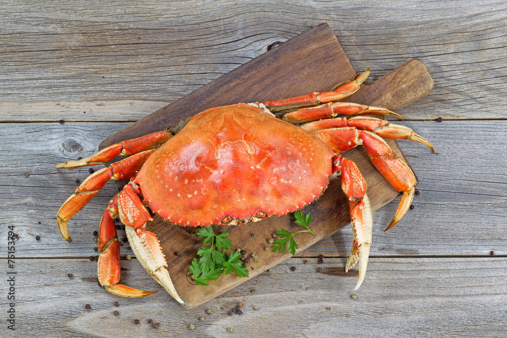 Photo  Cooked Crab on Server board