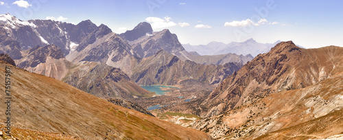 Photo Panorama of the mountains. Lake Kulikolon. Pamir, Tajikistan. HD