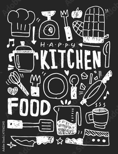 Kuchenna ręka rysująca elementów doodles kreskowa ikona, eps10