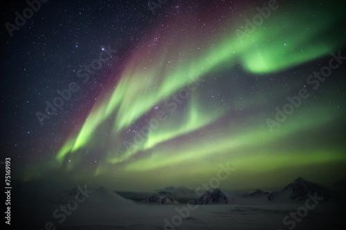 Foto auf Gartenposter Nordlicht Northern Lights in the Arctic, Spitsbergen