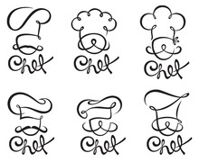 Set Of Design With Whiskered Cook