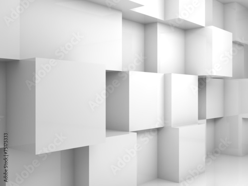 Abstract empty white 3d interior with cubes on wall #75175333