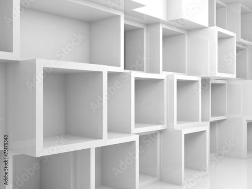 Abstrakta pusty 3d wnętrze z białymi kwadratowymi półkami