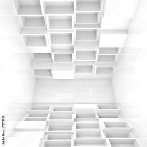 Abstrakta pusty 3d wnętrze, białe sześciany na podłoga i sufit