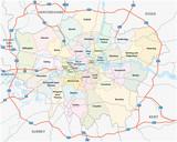 Fototapeta Fototapeta Londyn - greater london road and administrative map