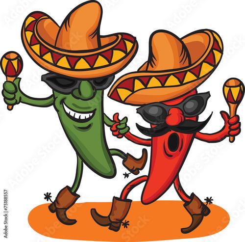 Fotografie, Obraz  two dancing cartoon mexican peppers