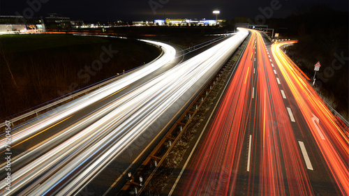 Acrylic Prints Night highway German highway at evening
