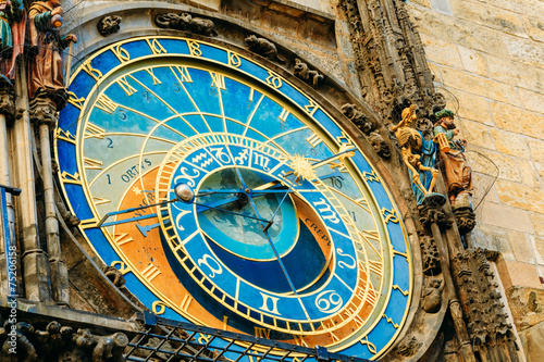 Astronomical Clock In Prague, Czech Republic. Close Up Photo Poster