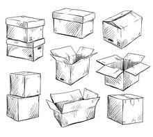 Set Of Doodle Cardboard Boxes....