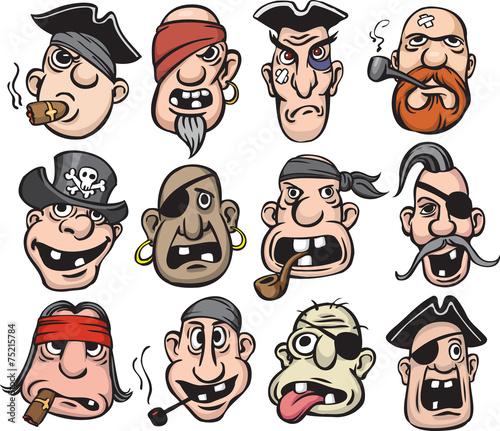 Obraz na płótnie Pirate faces collection