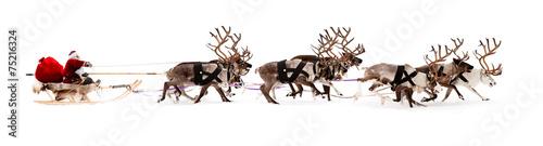 Santa Claus is sitting in a deer sleigh Fototapet