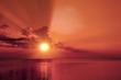 Magic marsala sunrise over sea