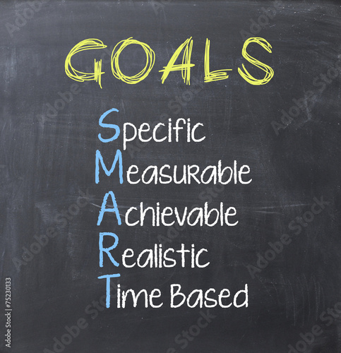 Photo  Smart goals on blackboard