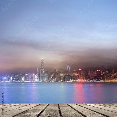 Photo  night scenes of Victoria harbor