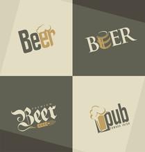 Set Of Beer Logo Design Templates