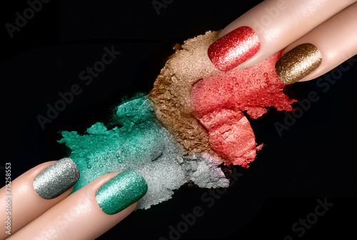 Festive Nail Polish and Mineral Eye Shadow Poster