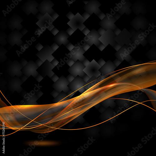 czarne tło i ogniste wstęgi - fototapety na wymiar