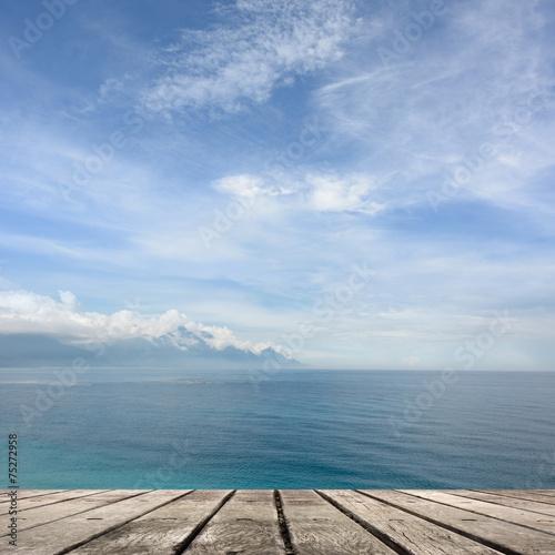Deurstickers Canarische Eilanden sea and desk table