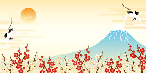 Fototapeta 富士山と紅白の梅と鶴