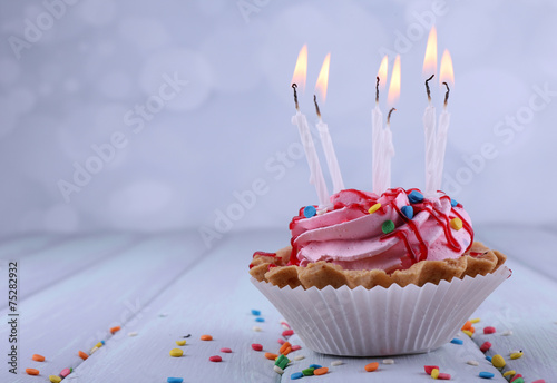 Birthday Cup Cake With Candles And Sparkles