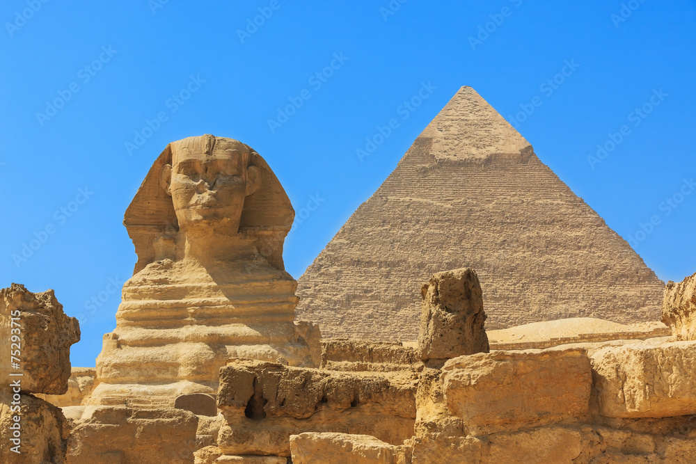 Fototapeta Pyramids from the Giza Plateau. Cairo, Egypt