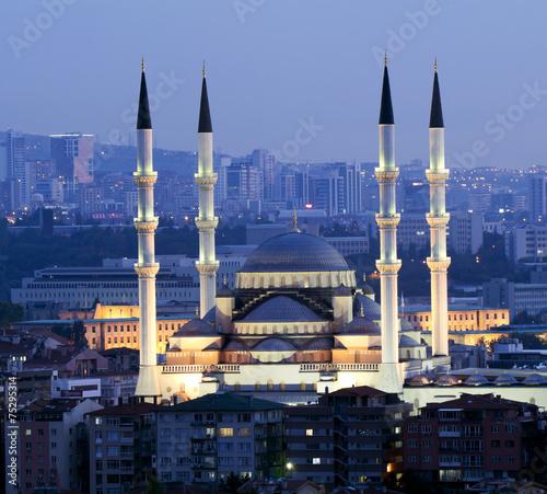 Photo Ankara - Turkey, Kocatepe Mosque at dusk