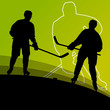 Active young men hockey players sport silhouettes in winter ice