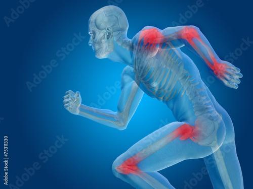 Photo Conceptual human body anatomy pain on blue