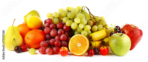 Poster Fruit Ripe fruits isolated on white background