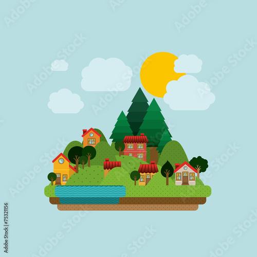 Tuinposter Lichtblauw Landscape design, vector illustration.