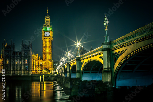 Spoed Foto op Canvas Londen Big Ben and Houses of parliament at dusk, London, UK